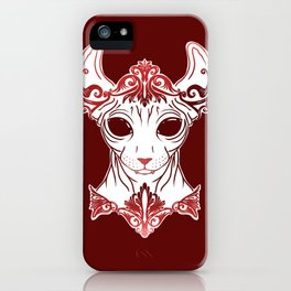 Elven Kitty - Sphynx Elf Princess with Fangs - Ruby Red iPhone Case