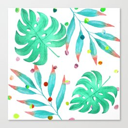 Tropical dots and leaves Canvas Print