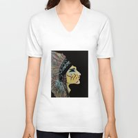 native american V-neck T-shirts featuring Native by Red Dust