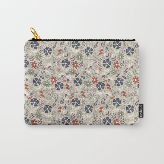 Retro Flora Carry-All Pouch