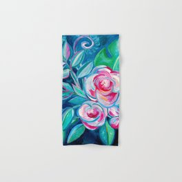 Tropical Camellia Extravaganza - oil on canvas Hand & Bath Towel