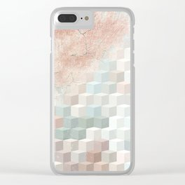 Distressed Cube Pattern - Nude, turquoise and seashell Clear iPhone Case
