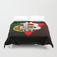 portugal Duvet Covers featuring bitcoin Portugal by seb mcnulty