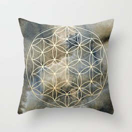 Sacred Geometry Ombre Watercolor Throw Pillow