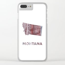 Montana map outline Gray red clouded aquarelle illustration Clear iPhone Case