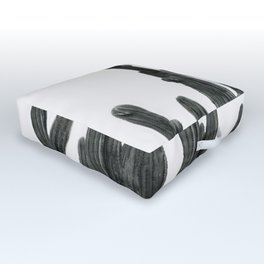 Black and White Cactus Outdoor Floor Cushion