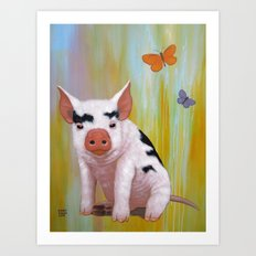 ONE COOL PIG Art Print