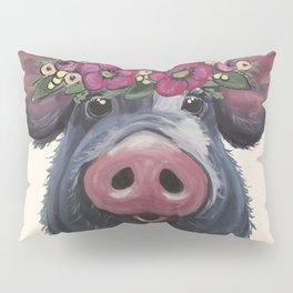 Pig Art, LuLu pig with flower crown art Pillow Sham