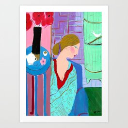 Tha Lady in Blue Art Print