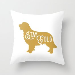 Golden Retriever Dog Stay Gold Throw Pillow