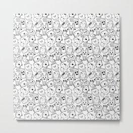 Сute doodle characters Metal Print