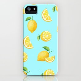 Lemons on Blue iPhone Case