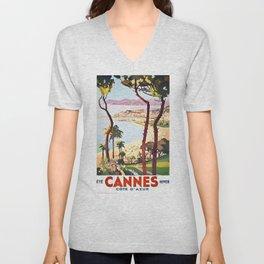 1938 France Cannes Cote D'Azur Travel Poster Unisex V-Neck