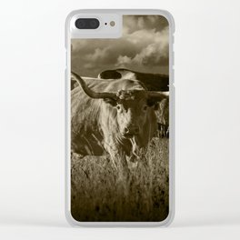 Sepia Tone of Texas Longhorn Steers under a Cloudy Sky Clear iPhone Case