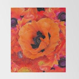 DECORATIVE ORANGE POPPY FLOWERS COMPOSITION Throw Blanket
