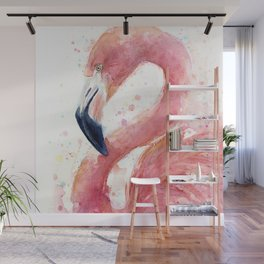 Pink Flamingo Watercolor Wall Mural