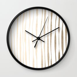 White Gold Sands Ink Pinstripes Wall Clock
