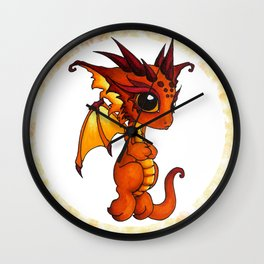 Baby Orange Dragon Wall Clock
