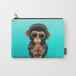 Cute Baby Chimp Playing With Basketball Carry-All Pouch