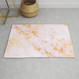 Gold Marble - Shimmery Glittery Pink Gold Marble Metallic Rug