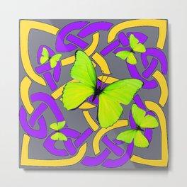 Lime Yellow Butterflies Purple-grey-gold Celtic Art Metal Print