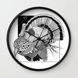 Turkey Black & White Line Illustration Wall Clock
