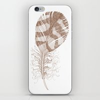 feather iPhone & iPod Skins featuring The Solitary Feather by Sandra Ireland