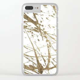 Artistic white abstract faux gold paint splatters Clear iPhone Case