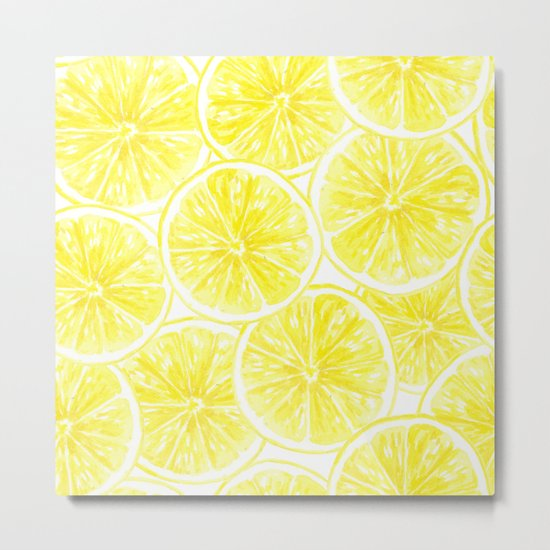 Lemon slices pattern watercolor Metal Print