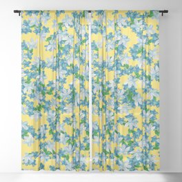 Summer Flowers Yellow Sheer Curtain