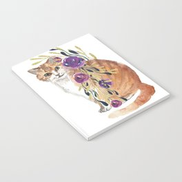 cat with flower boa Notebook