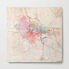 Eugene map Oregon painting Metal Print