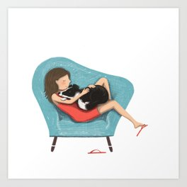 Pet cuddles Art Print
