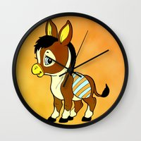 donkey Wall Clocks featuring Childhood Donkey by Texnotropio