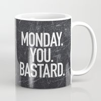 xbox Mugs featuring Monday You Bastard by Text Guy
