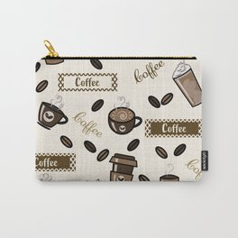 Coffee cups pattern on cream background Carry-All Pouch