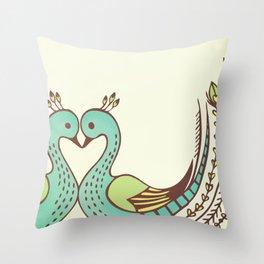 Peacock Love Throw Pillow