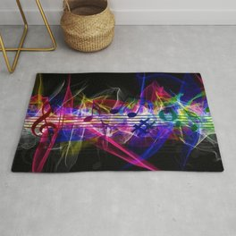 Colorful musical notes and scales artwork Rug