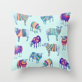 Sheep in Woolly Jumpers Throw Pillow
