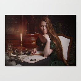 Victorian Lady Painting Canvas Print