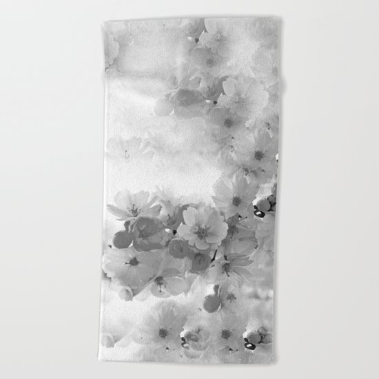 CHERRY BLOSSOMS GRAY AND WHITE Beach Towel