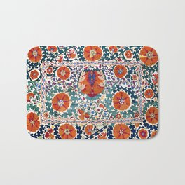 Shakhrisyabz Suzani Uzbekistan Antique Embroidery Print Bath Mat