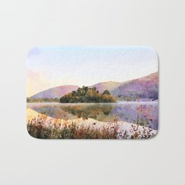 Island on Grasmere at Dawn, Lake District Cumbria, UK. Watercolour Painting Bath Mat