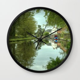 The Canal at Stoke Prior Wall Clock