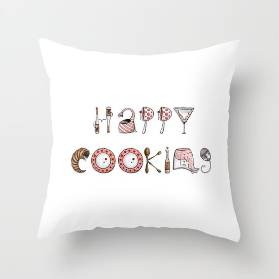 Happy Cooking Throw Pillow