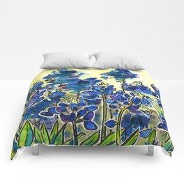 Texas Bluebonnets Watercolor Comforters