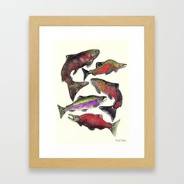 Salmon Fish Chart Framed Art Print