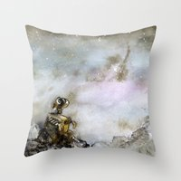 wall e Throw Pillows featuring Wall-e by Louise Summers