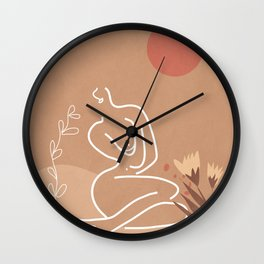 Woman in Nature Illustration Wall Clock