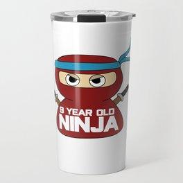 9th Birthday Ninja Party Samurai Ninjas Gift Japanese Ninja stars Fighter Gift Travel Mug